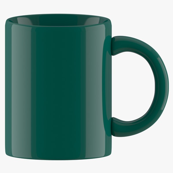 3D coffee mug dark green