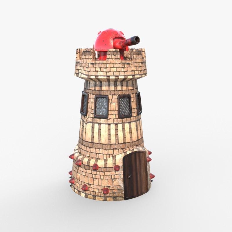 cannon turret 3D model