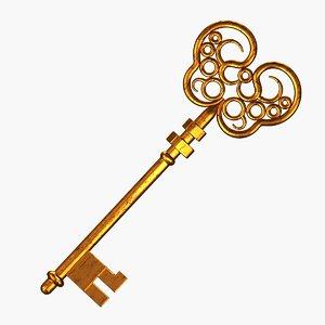 original medieval old key 3D
