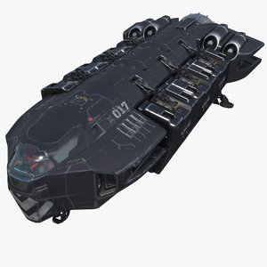 3D model sci-fi spaceship pbr cargo