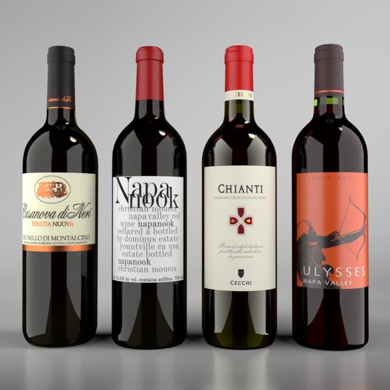 blender wine red bottle model