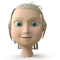cartoon girl head 3D