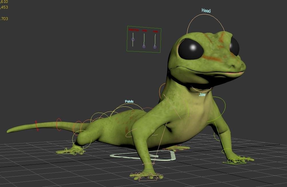 rigged lizard 3D model