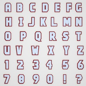 3D alphabet number letter model