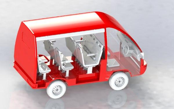 3D minibus bus
