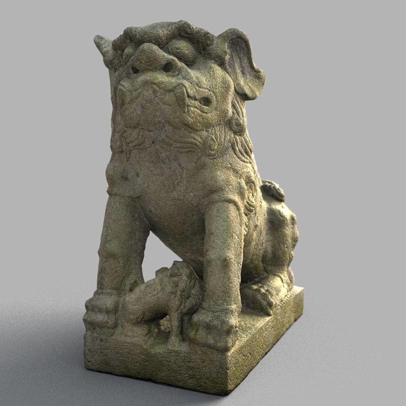 3D lion-statue-011f lion sculpture model