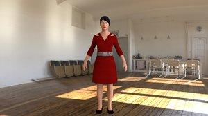 female rig modeled 3D model