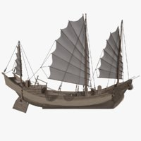 3D chinese boat junk sailing ship