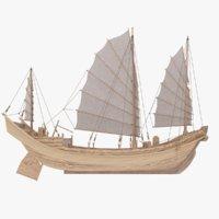 3D chinese boat junk sailing ship