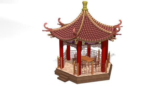 3D chinese gazebo