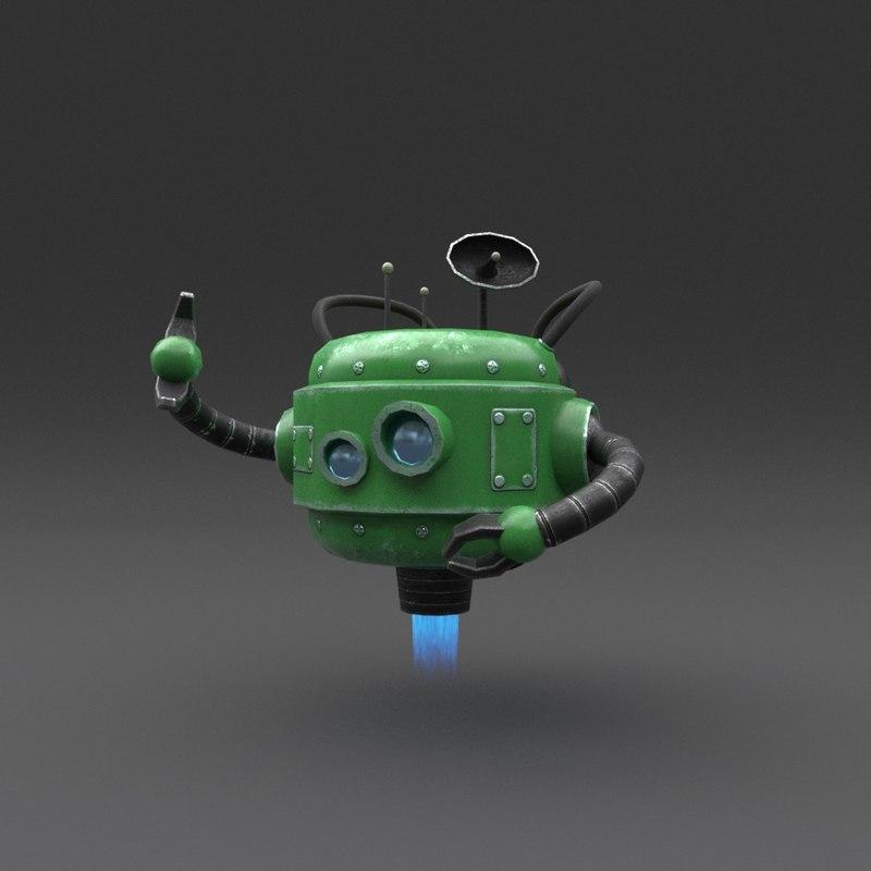 robot blender rigged model