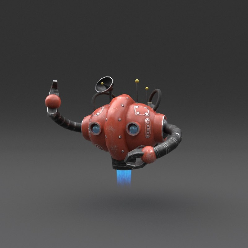 3D robot blender rigged model