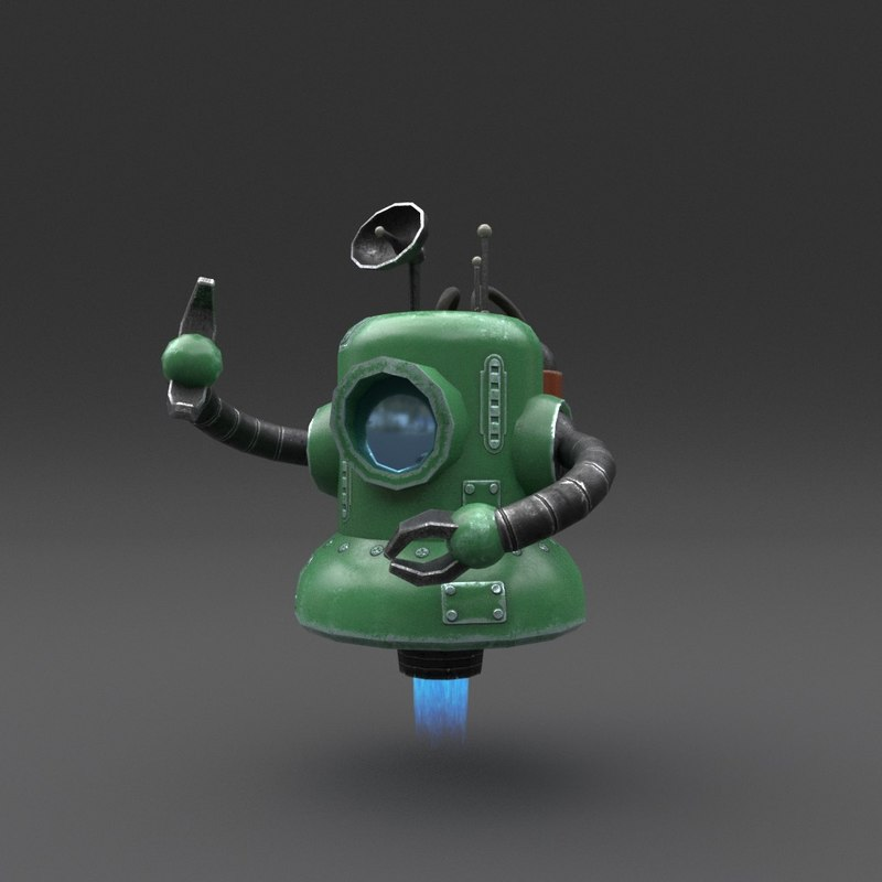 robot blender rigged 3D