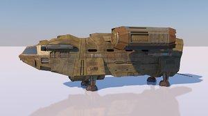 3D model space cargo ship