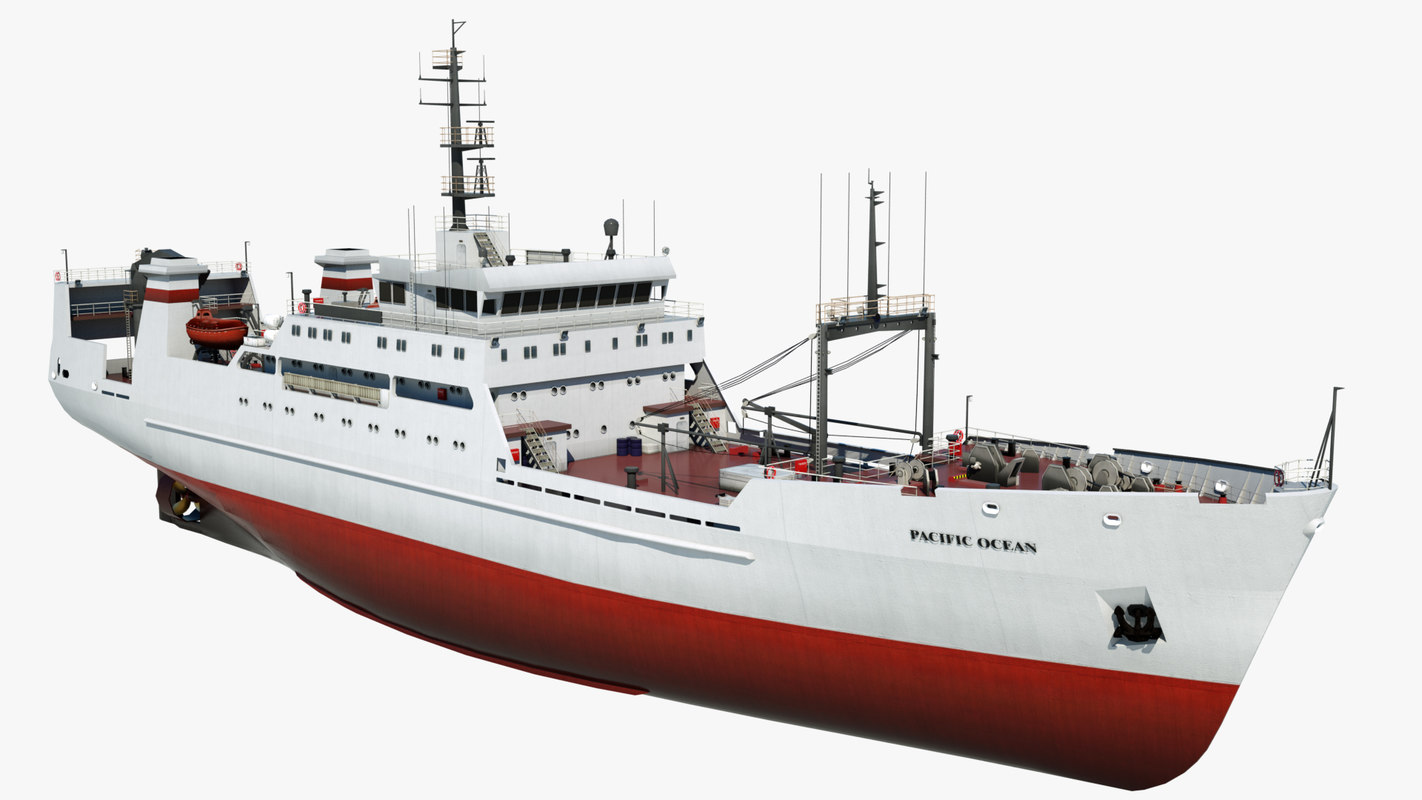 3D fishing trawler pacific ocean model