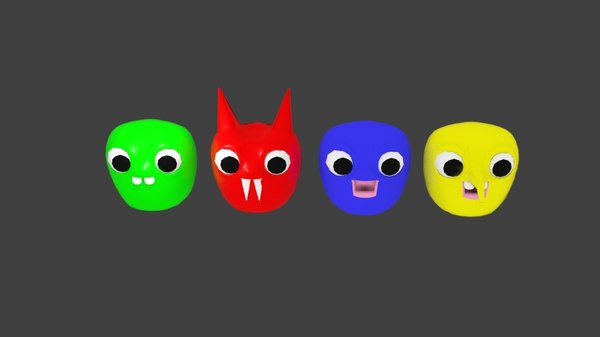 3D blob character face