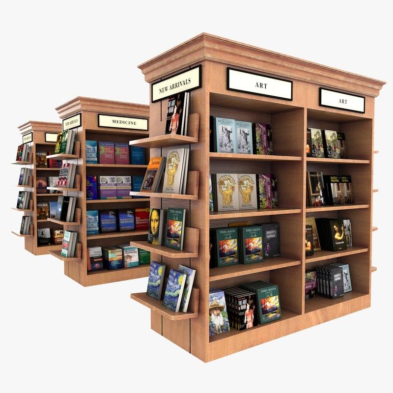 bookstore shelves book 3D