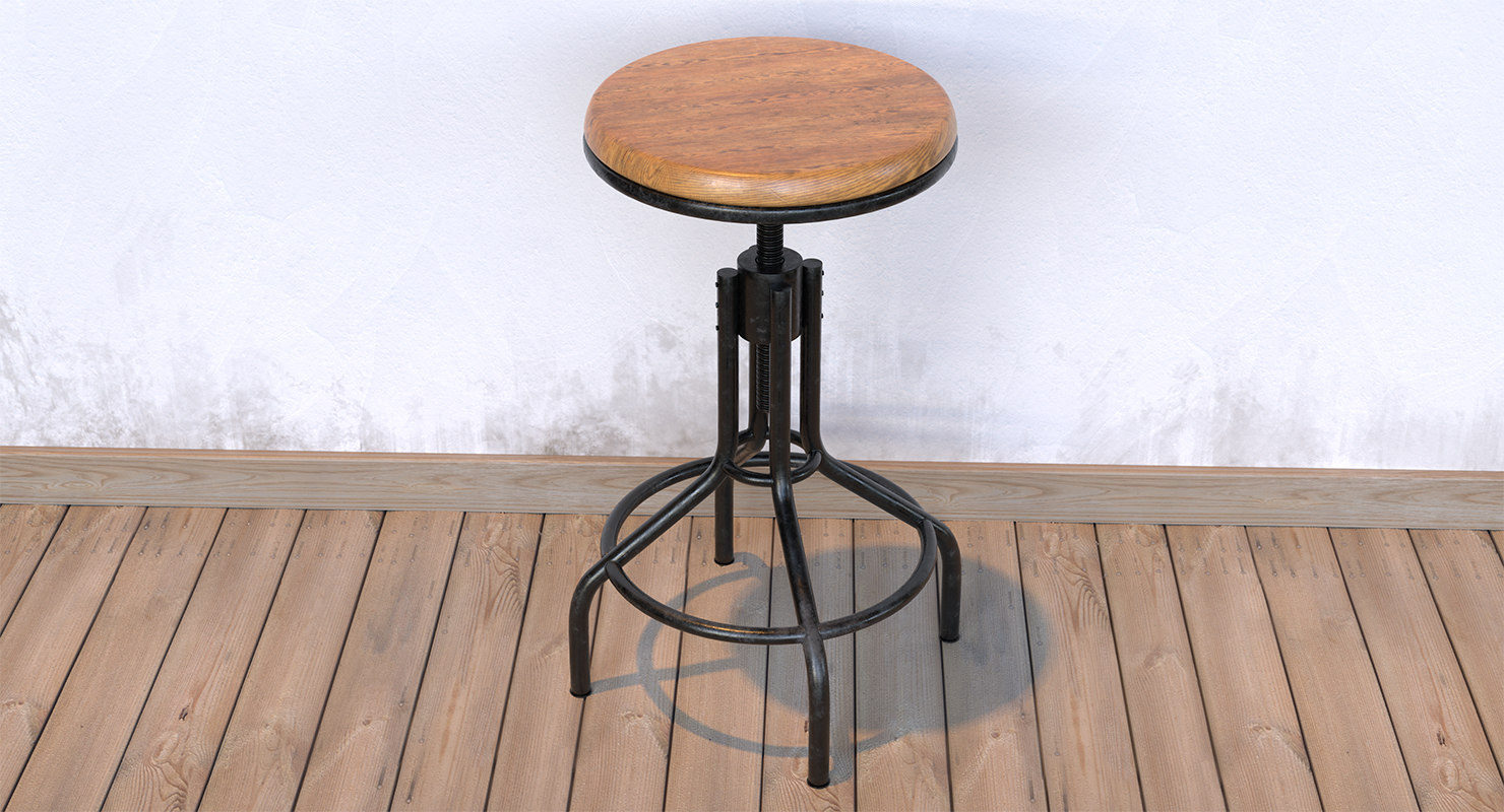industrial style stool 3D model
