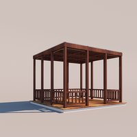 outdoor setting kiosk architecture modern 3D model