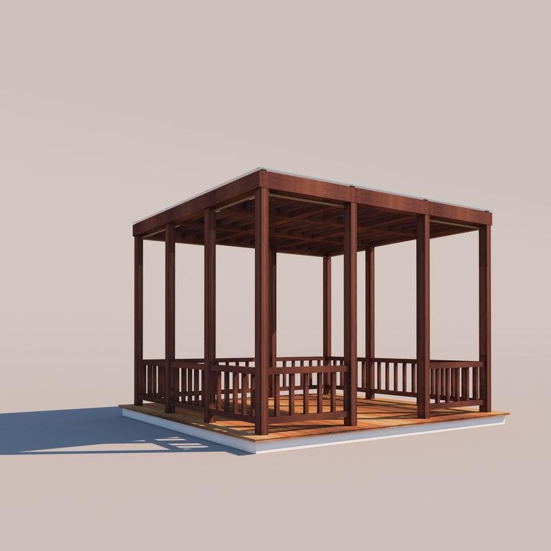 outdoor setting kiosk architecture modern 3D model