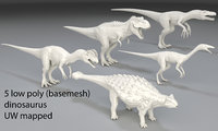 Dinosaur-5 peaces-low poly-part 3