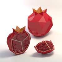 Low poly cartoon pomegranate