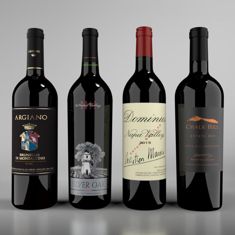 3D blender wine red bottle