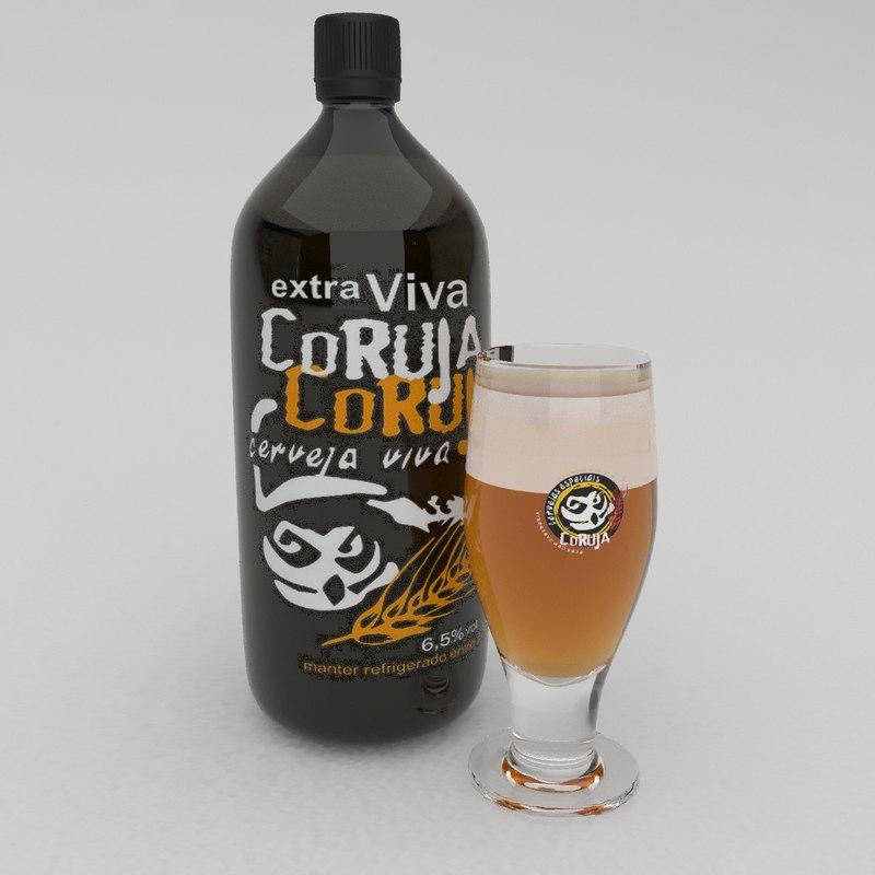 bottle beer coruja 3D model