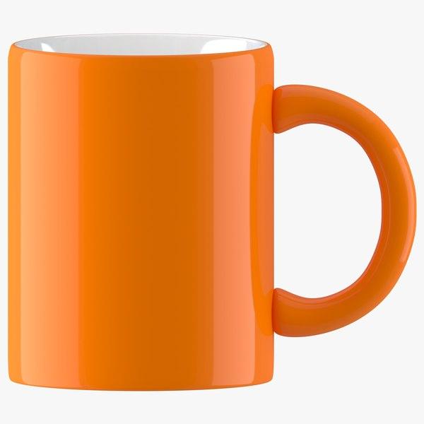 3D coffee mug orange model