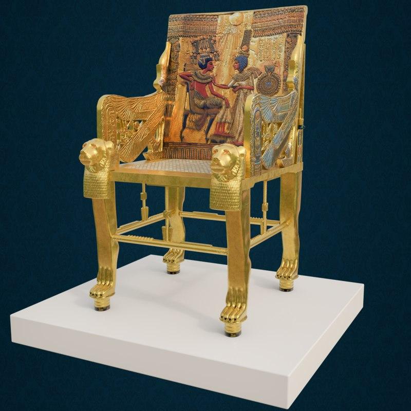 king tutankhamun chair 3D model