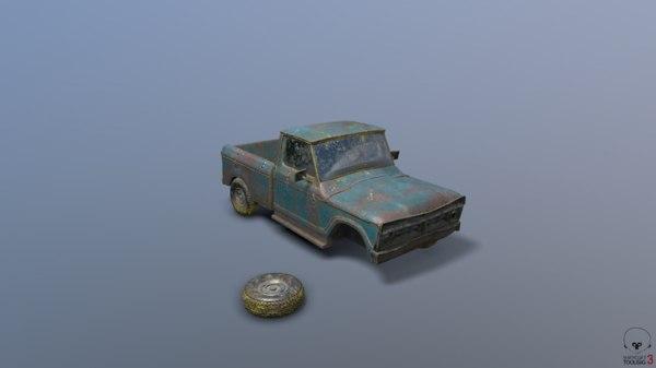 3D old broken truck
