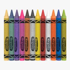 3D model crayons set 12 count