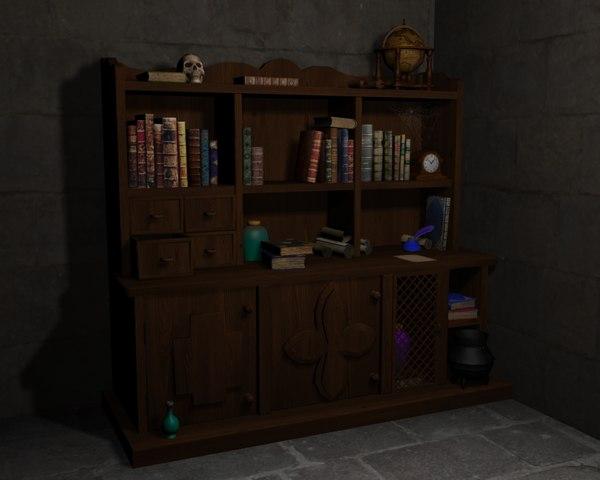 medieval fantasy cupboard furniture 3D