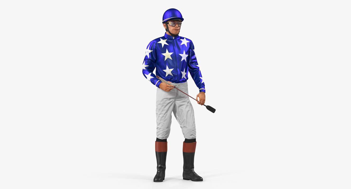 3D horse racing jockey standing