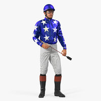 Horse Racing Jockey Standing Pose 3D Model