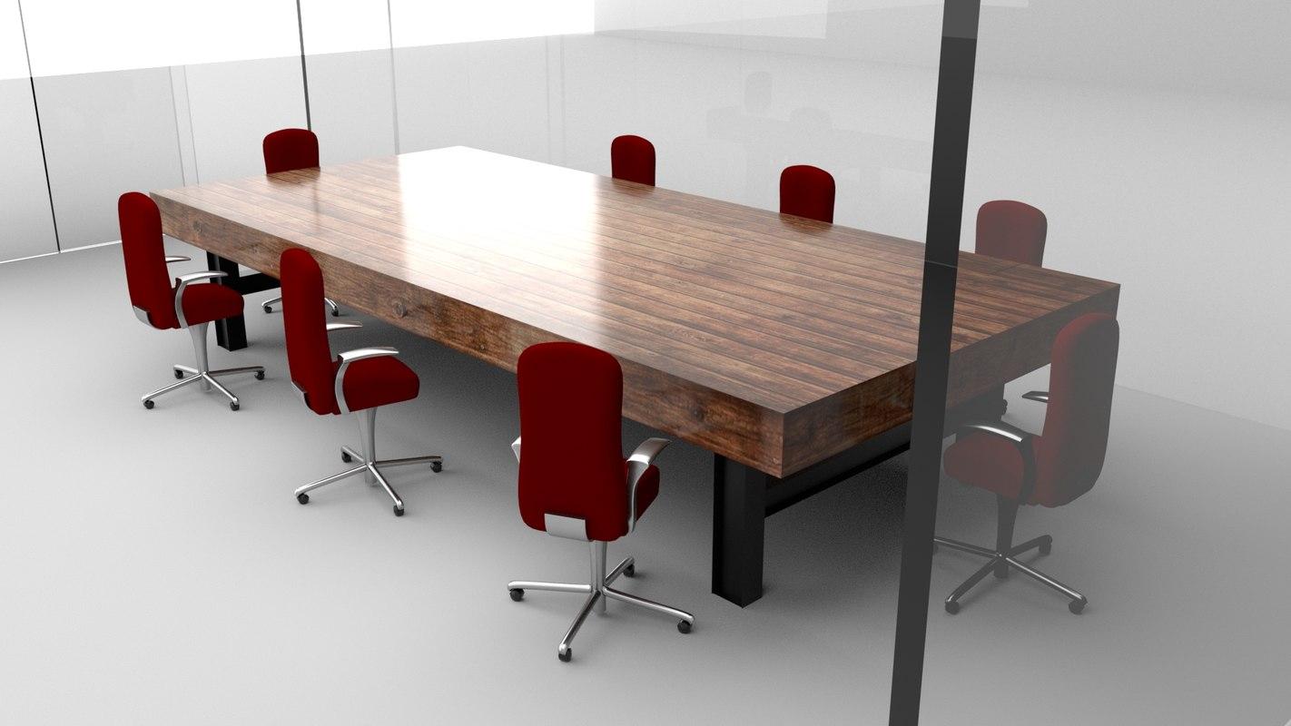 3D transparent glass walls conference room model