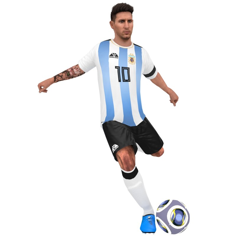 rigged lionel messi 2018 3D model