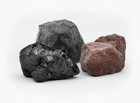 3D black coal brown anthracite model