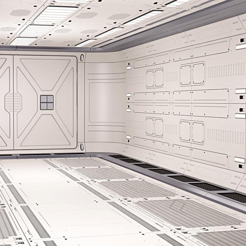 3D model sci fi corridor 03
