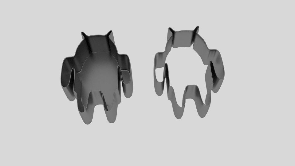 3D android cookie cutter mold model