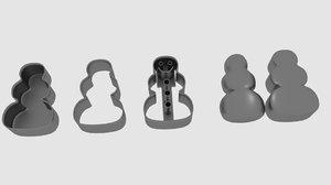 3D model snowman cookie cutter mold