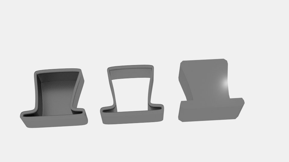 tophat cookie cutter mold model
