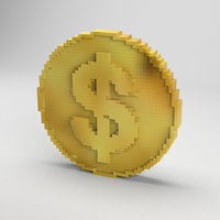 voxel golden coin model