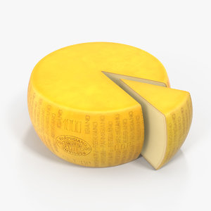3D wheel cheese piece cut model