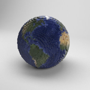 3D voxel planet earth