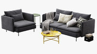 3D ikea soderhamn sofa armchair model