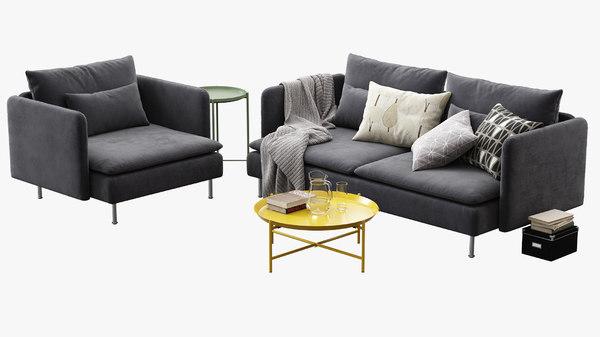 3D ikea soderhamn sofa armchair model