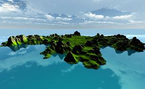 3D island maps model