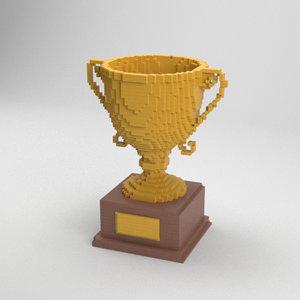 voxel golden cup 3D model