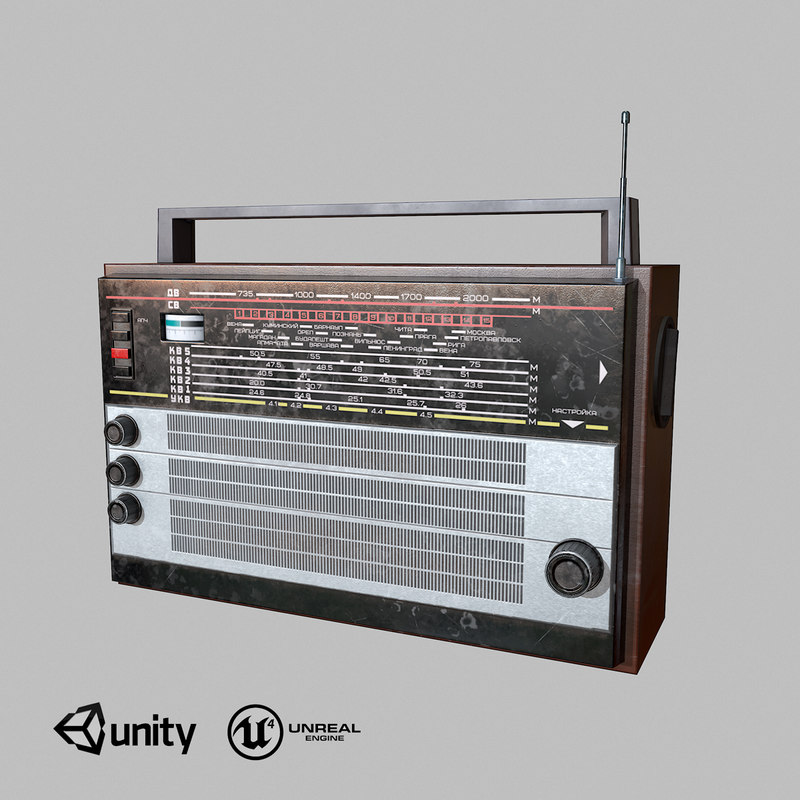 3D old ussr radio low-poly model